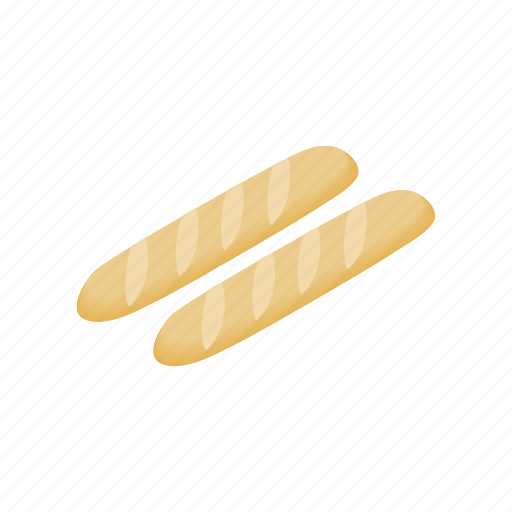 baguette, bakery, bread, food, french, isometric, loaf icon