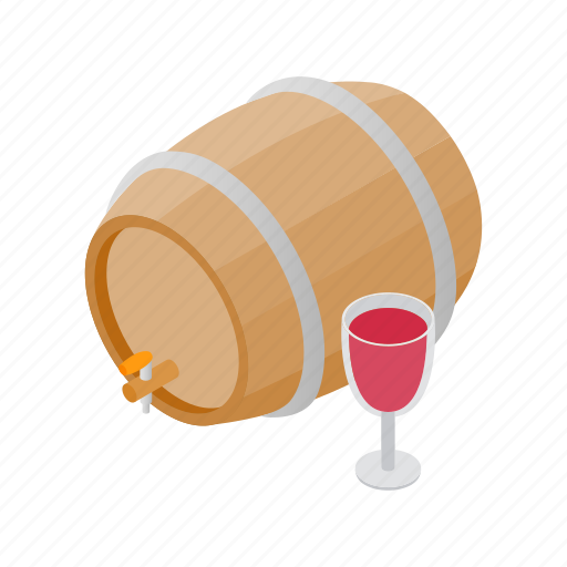 alcohol, barrel, container, drink, isometric, storage, wine icon