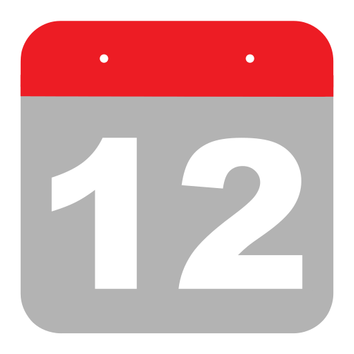 calendar, event, hovytech, one, schedule, twelve, two icon
