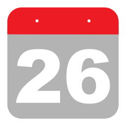 calendar, event, hovytech, schedule, six, twenty-six, two icon