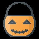 trick, bucket, pumpkin, halloween, treet