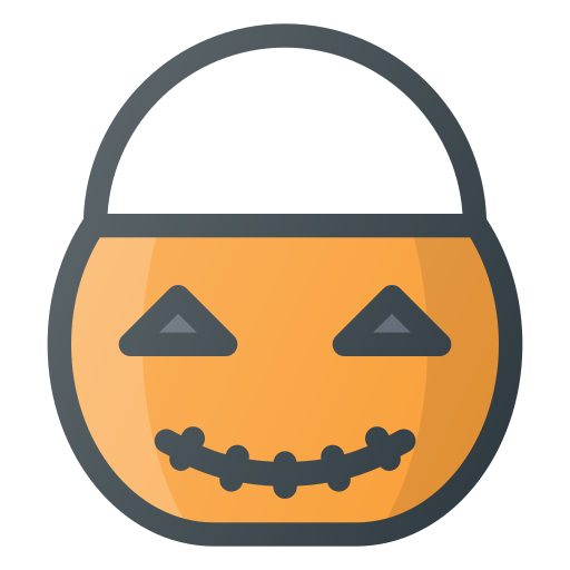 bucket, halloween, pumpkin, treet, trick icon