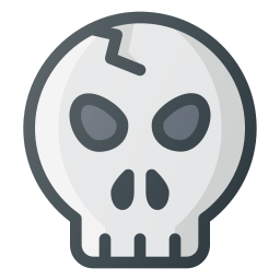 broken, scare, skull icon