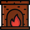 christmas, fire, fireplace, home, warm icon