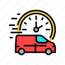 fast, delivering, vehicle, free, shipping, boy icon