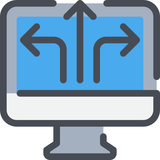 arrow, business, computer, solution, technology icon
