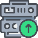 arrow, data, database, network, server, upload icon
