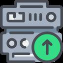 arrow, data, database, network, server, upload