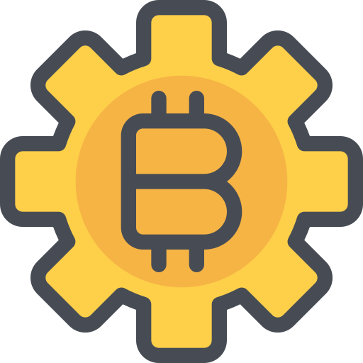 bitcoin, gear, management, money, process icon