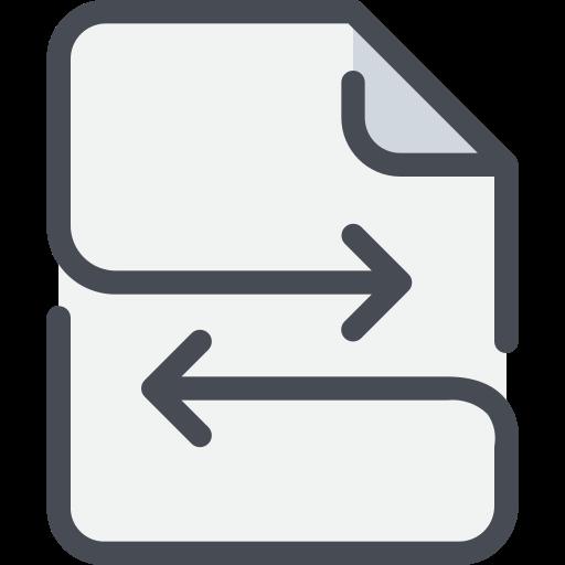 arrow, document, exchange, file icon
