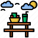 area, bench, camping, food, picnic, rest, table icon