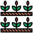 farming, garden, grass, ground, leaves, plant, watering icon