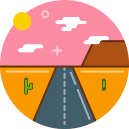 desert, highway, hot, road, sun, texas icon