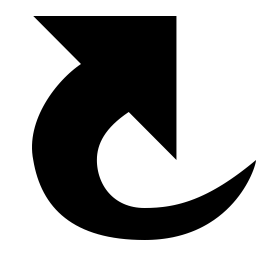 arrow, curved, right, up icon