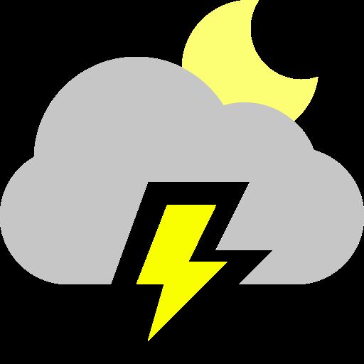 cloud, lightning, moon icon