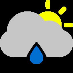 cloud, raindrop, sun icon
