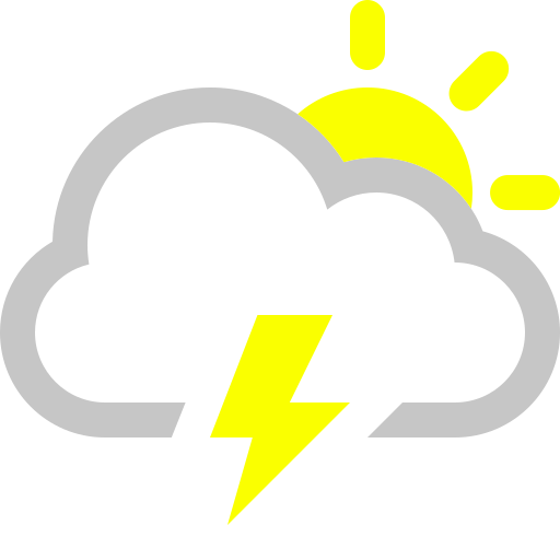 cloud, lightning, sun icon