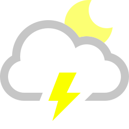 cloud, lightning, moon icon