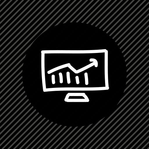 analityc, arrow, freehand, graphic, hand drawn, monitoring, seo icon