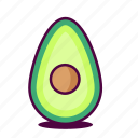 avocado, delicious, fruit, health, healthy, icon, yum icon