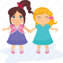 friendship, happy, joy, little girls, playing icon