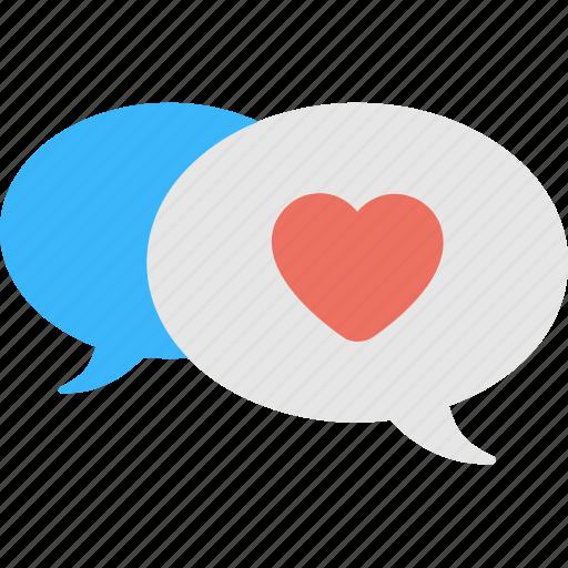 comments, conversation, heart, love, speech bubble icon