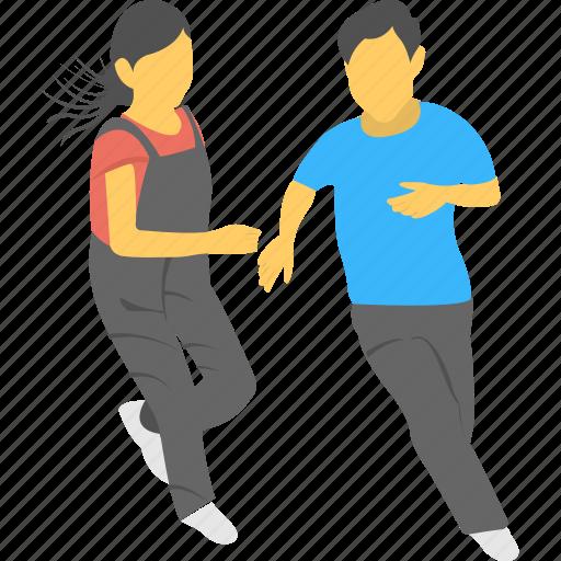 friends, fun, happy, leisure, running icon