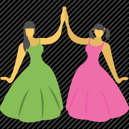 combine, dancing, girls, performance, program icon