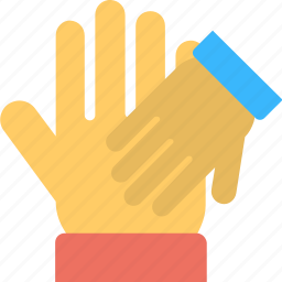 clapping, friendship, fun, low five, two hands icon