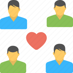 best friends, companions, four friends, friends group, heart icon