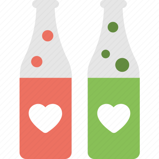bottles, fizzy drink, heart bubbles, heart ice cubes, vodka icon