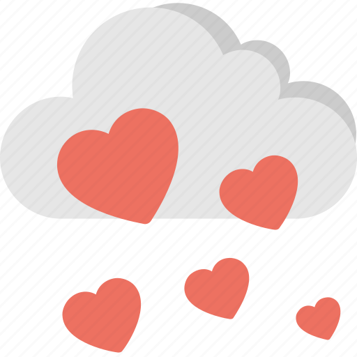 celebrations, cloud with hearts, love cloud, rain of hearts, valentine day icon