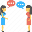 conversation, dialog, social connection, speech bubble, talking girls icon