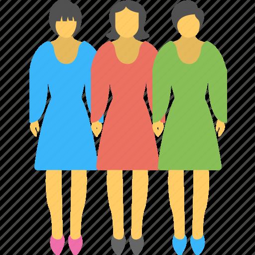 dashing, dressup, fashionable girls, model girls, three girls icon