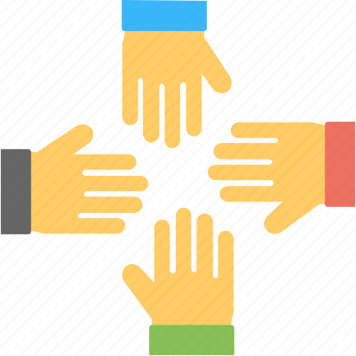 four hands, friends, mates, team, togetherness icon