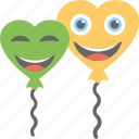 celebrations, decoration, heart balloons, party, smiling balloons icon