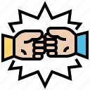 argument, disagree, fight, fist, rival icon