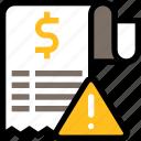 payment, finance, business, bill, attention, alert, receipt