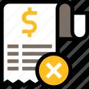 payment, finance, business, bill, cancel, rejected, receipt
