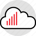 activity, bars, cloud, data, internet, online, up icon