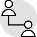activity, internet, online, two, users icon