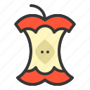 apple core, food, fruit, healthy, vitamin icon
