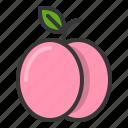 food, fruit, healthy, peach, vitamin icon