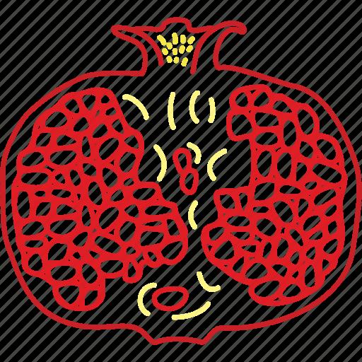 fresh fruit, fruits, juice, pomegranate icon