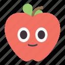 apple, fruits, happy, school icon