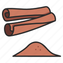 cinnamon, spice, cooking, herb, food, organic, dry icon