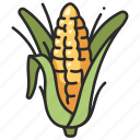 corn, grain, maize, food, vegetable, agriculture icon