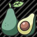 organic, healthy, food, slice, avocado, vegetable, half