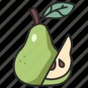 diet, fresh, pear, food, half, fruit, juicy icon