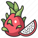 vegan, healthy, slice, fresh, fruit, dragon, cut